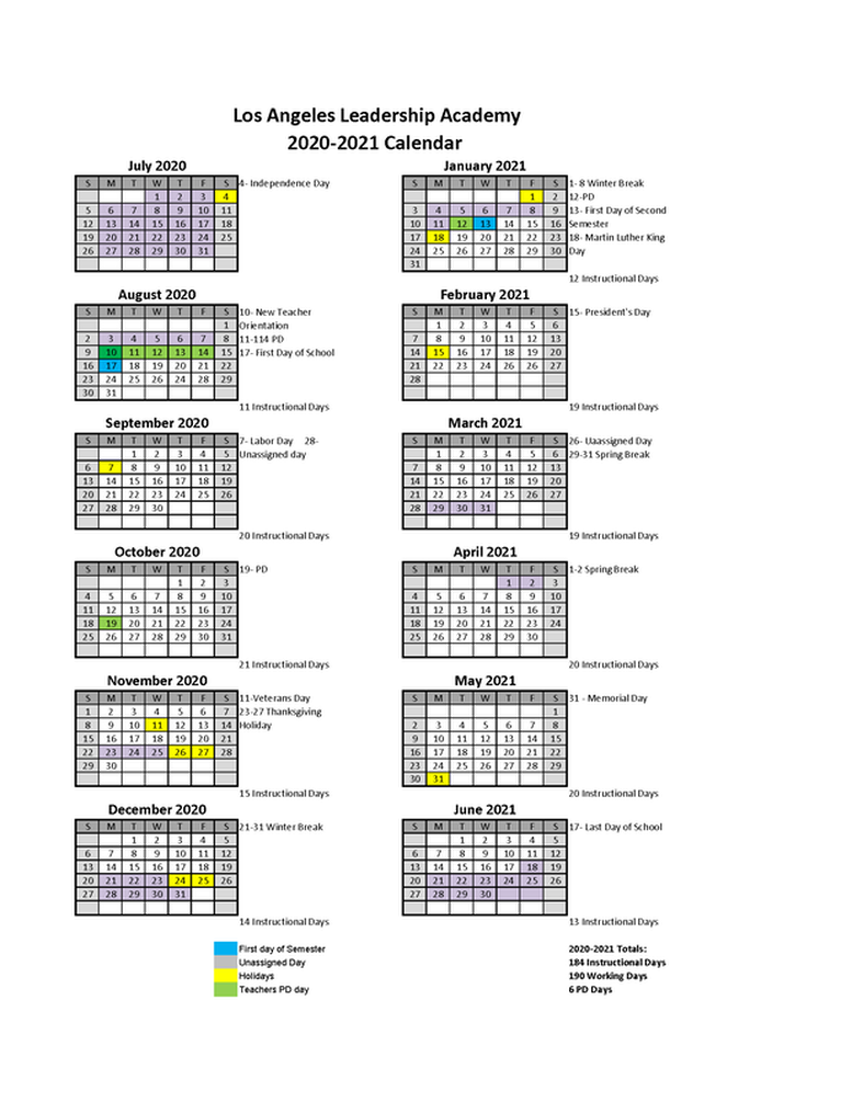 2020 2021 Academic Calendar   Los Angeles Leadership Academy