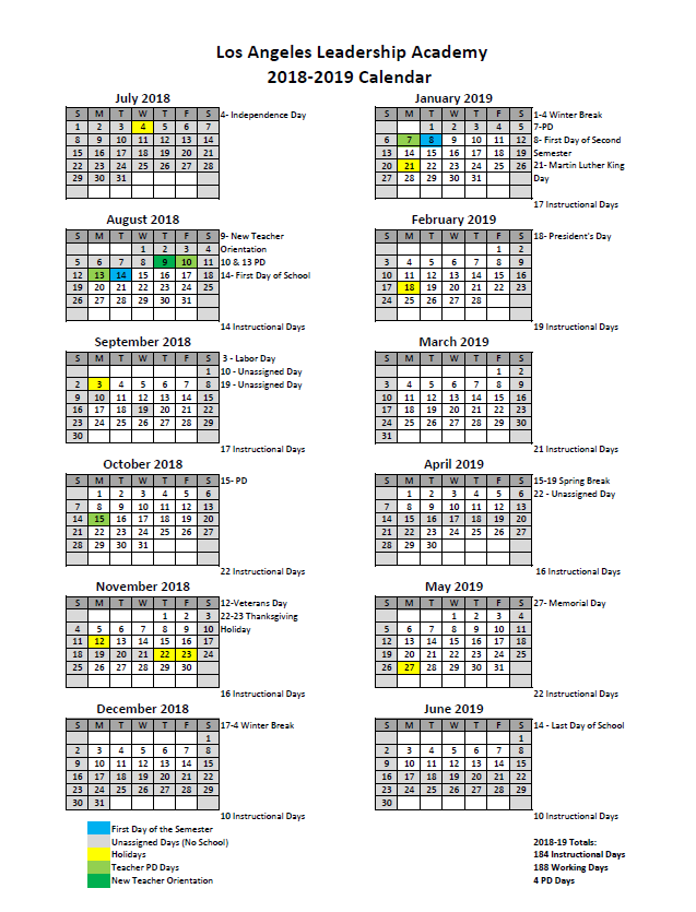 Lausd School Calendar 2020-2021 2018 19 Academic Calendar   Los Angeles Leadership Academy